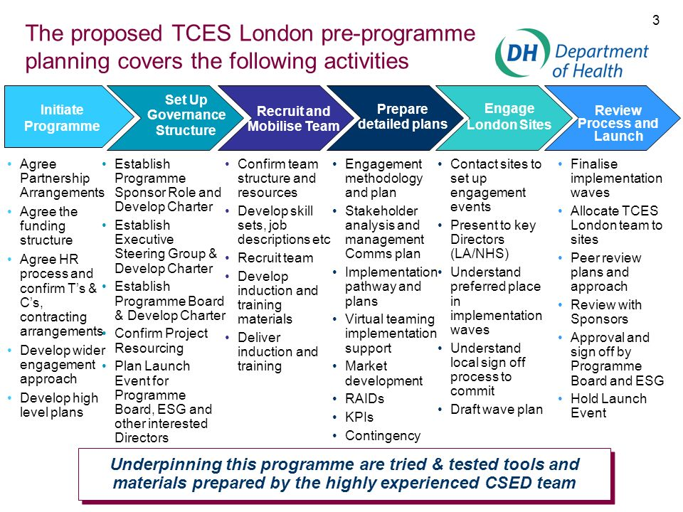 The proposed TCES London pre-programme planning covers the following activities