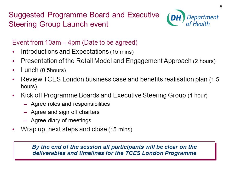 Suggested Programme Board and Executive Steering Group Launch event