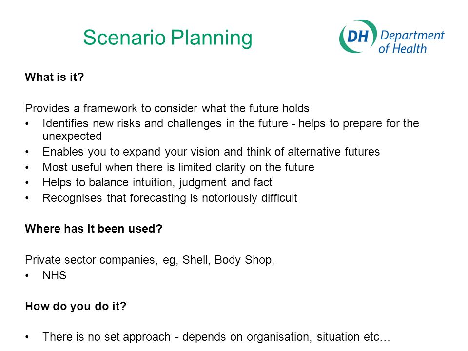Scenario Planning What is it