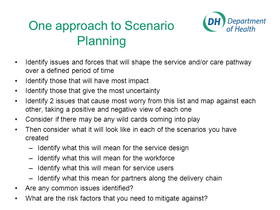 One approach to Scenario Planning