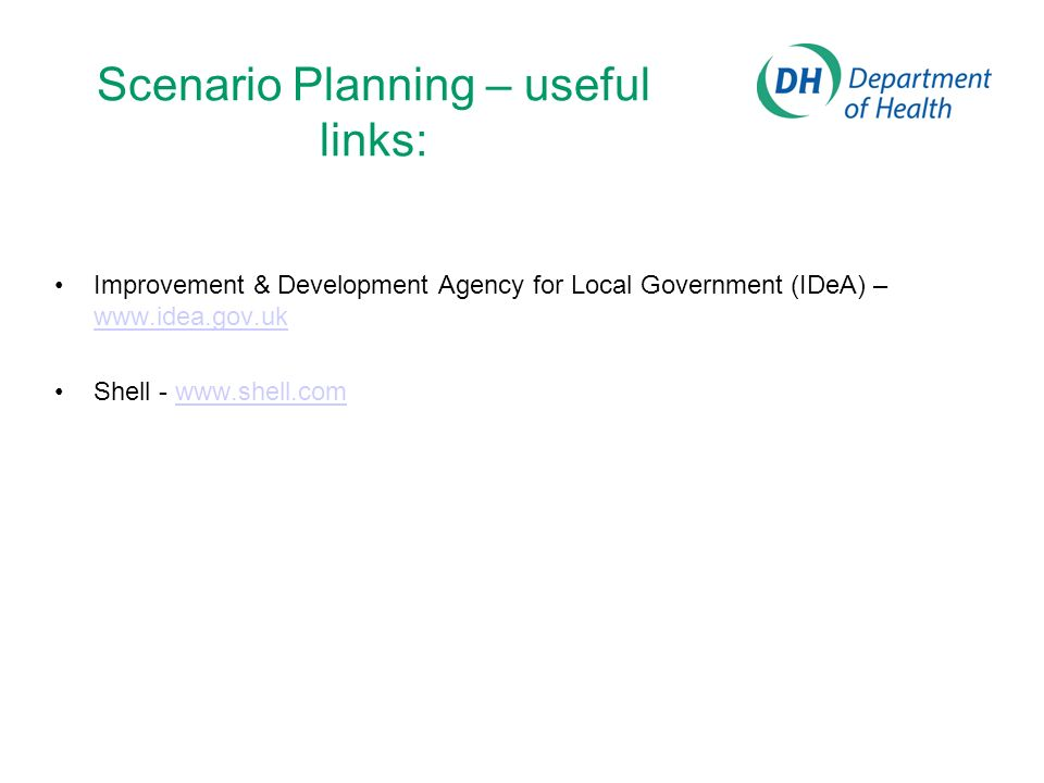 Scenario Planning – useful links: