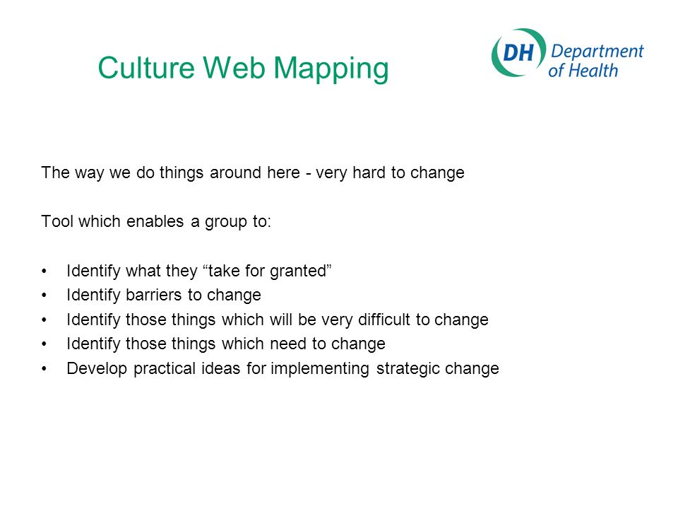 Culture Web Mapping The way we do things around here - very hard to change. Tool which enables a group to: