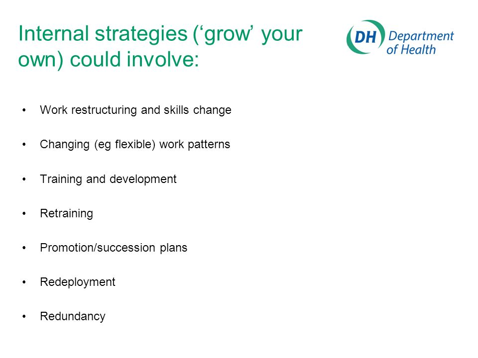 Internal strategies ('grow' your own) could involve:
