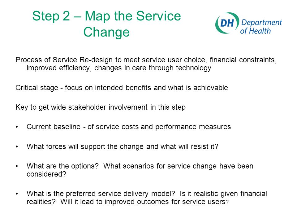 Step 2 – Map the Service Change