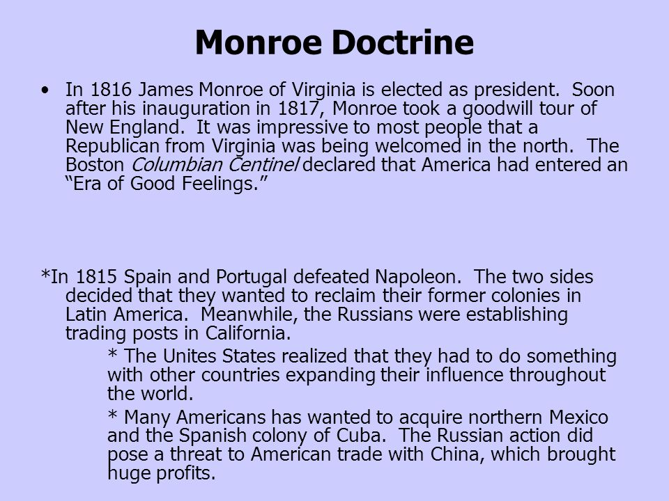 the history of the monroe doctrine history essay Essays on monroe doctrine monroe doctrine and its impact on american history monroe doctrine and its impact monroe doctrine president james monroe.