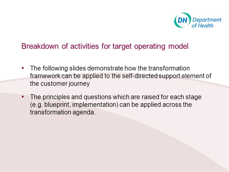 Breakdown of activities for target operating model