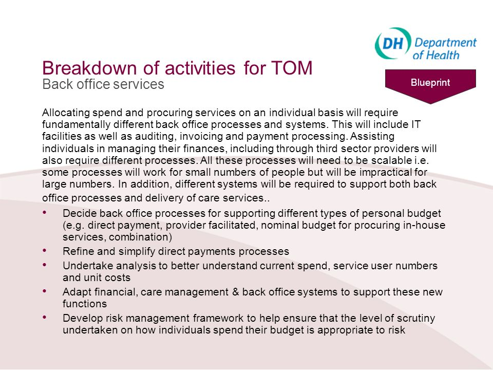 Breakdown of activities for TOM