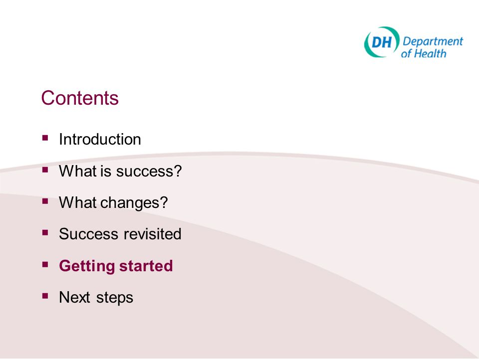 Contents Introduction What is success What changes Success revisited