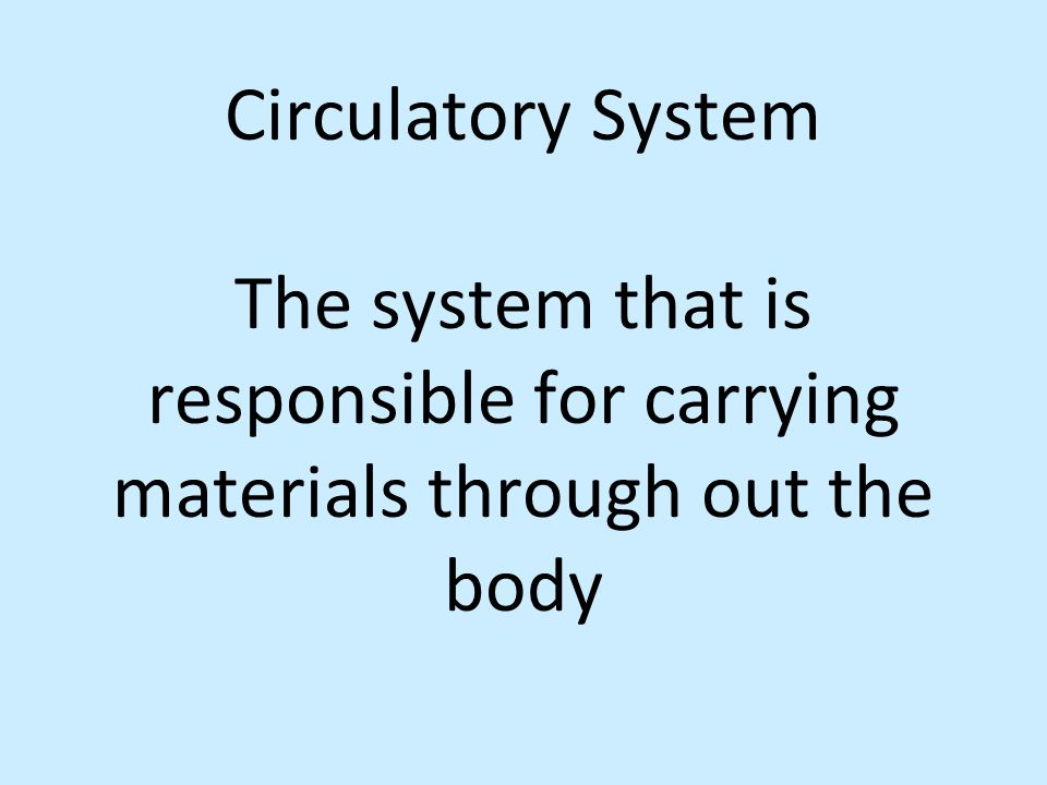 Circulatory System The system that is responsible for carrying materials through out the body