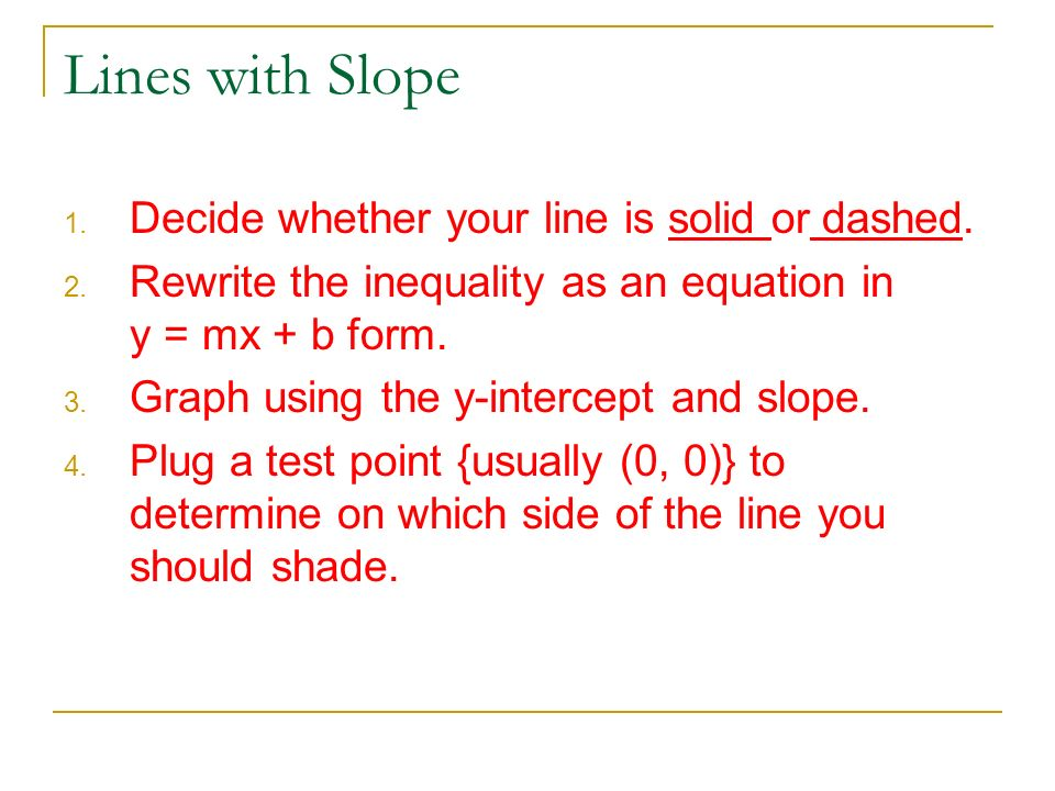 Lines with Slope Decide whether your line is solid or dashed.