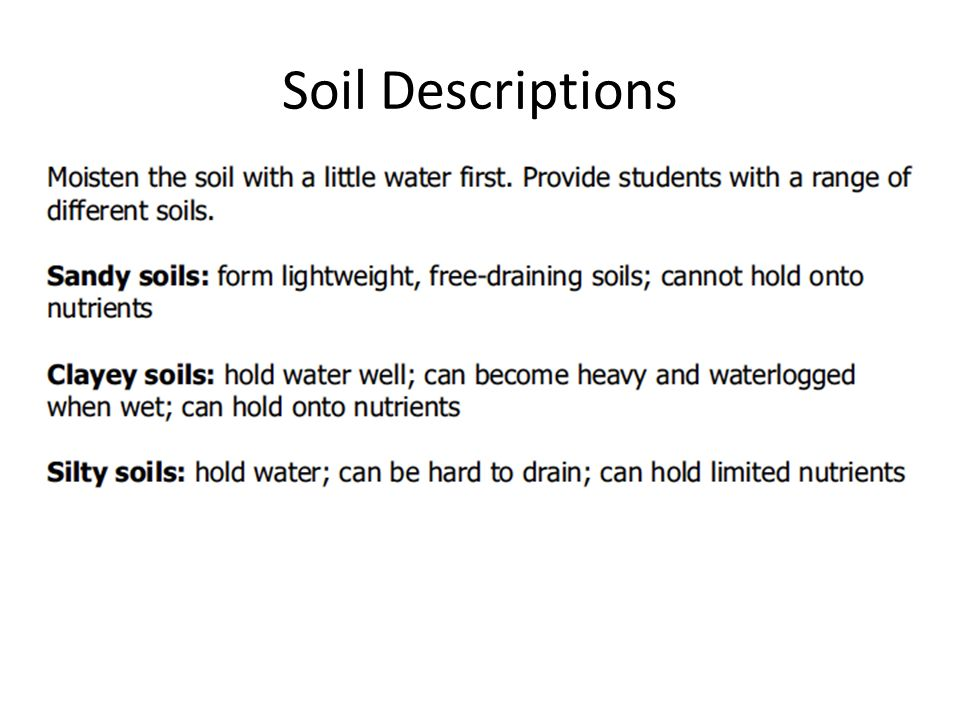 Soil quality explain the effects of soil quality on the for Soil description