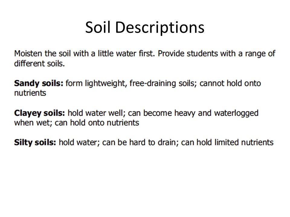 Soil quality explain the effects of soil quality on the for Soil description