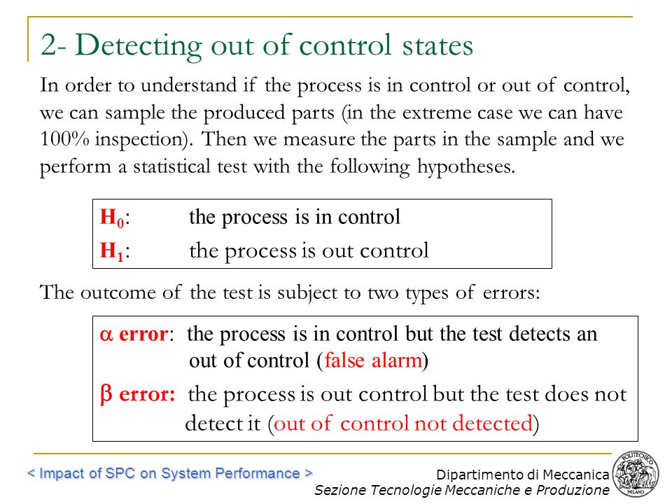 2- Detecting out of control states