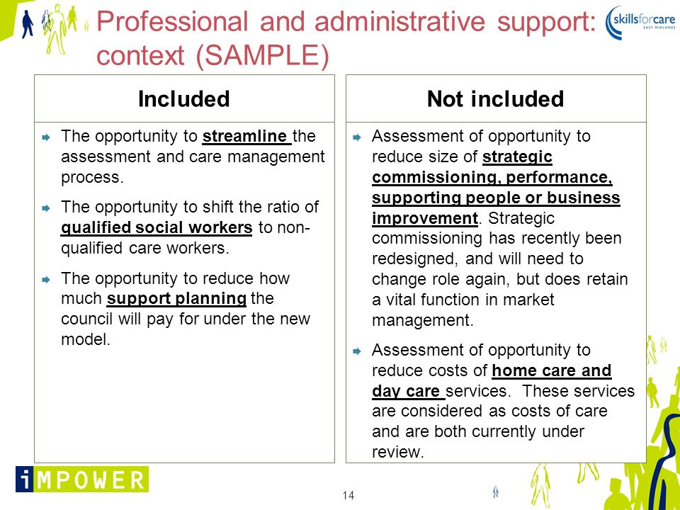 Professional and administrative support: context (SAMPLE)