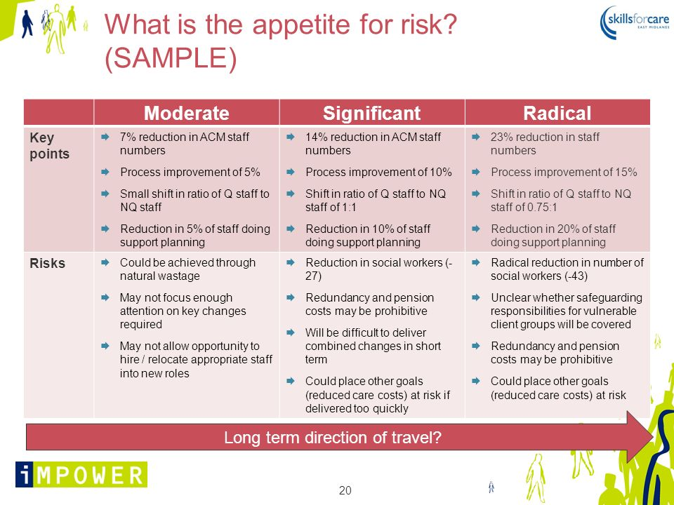 What is the appetite for risk (SAMPLE)