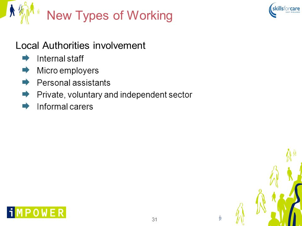 New Types of Working Local Authorities involvement Internal staff
