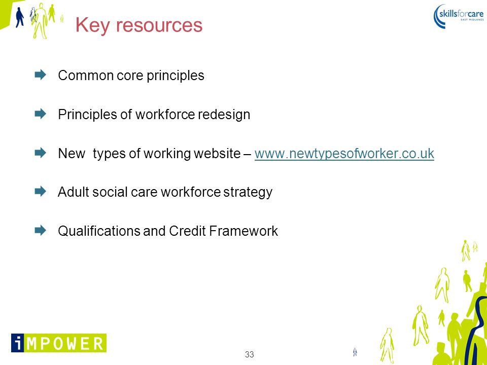 Key resources Common core principles Principles of workforce redesign