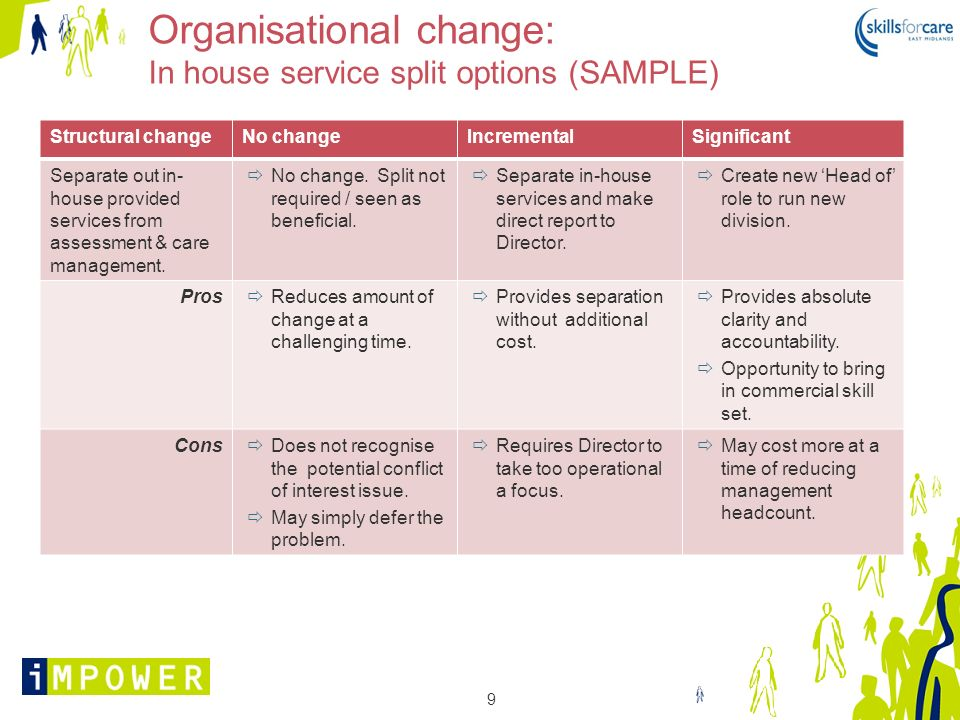 Organisational change: In house service split options (SAMPLE)