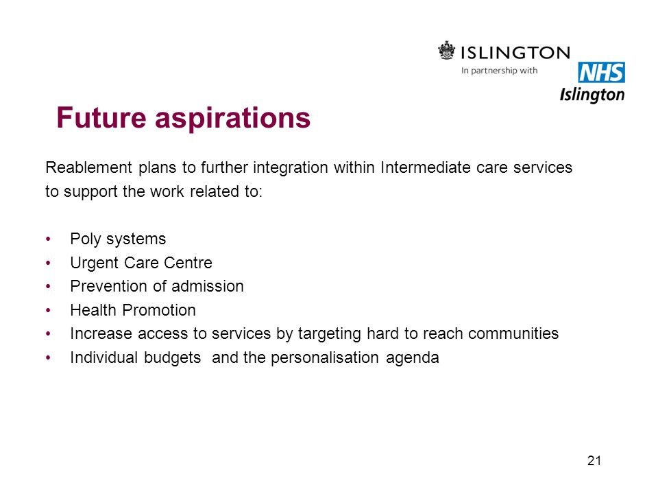 Future aspirations Reablement plans to further integration within Intermediate care services. to support the work related to: