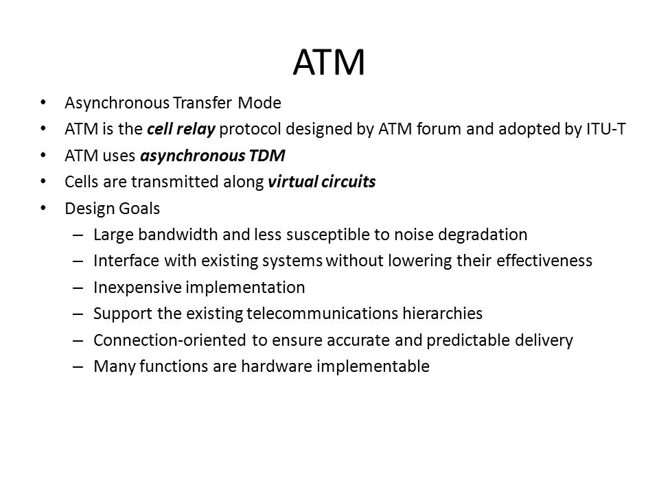asynchronous transfer mode atm architecture and implementation