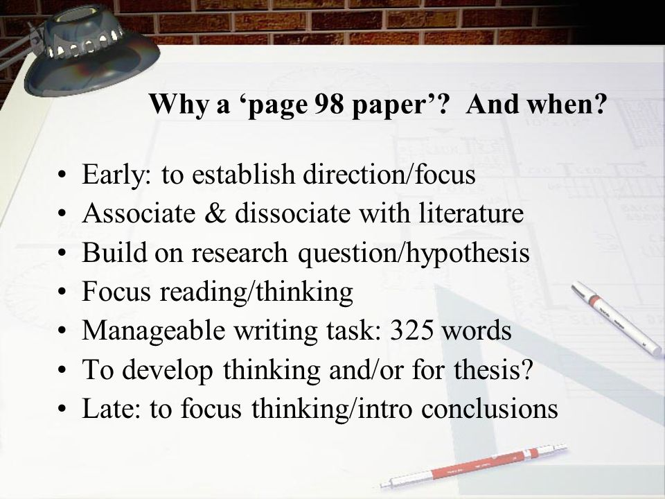 Why a 'page 98 paper' And when