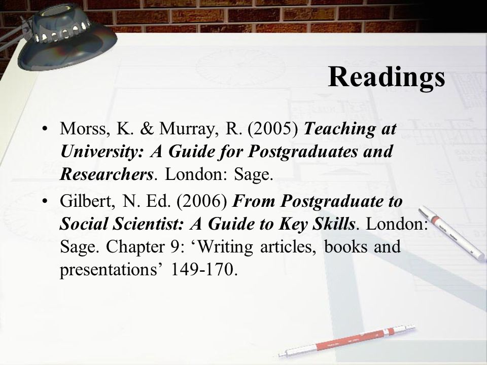 Readings Morss, K. & Murray, R. (2005) Teaching at University: A Guide for Postgraduates and Researchers. London: Sage.