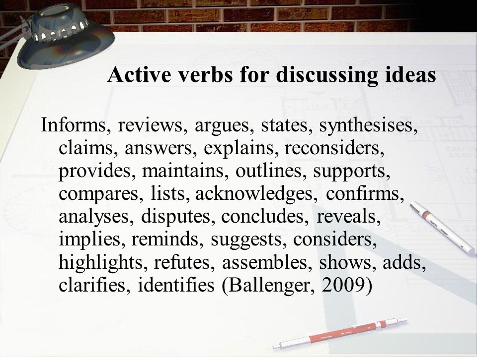 Active verbs for discussing ideas