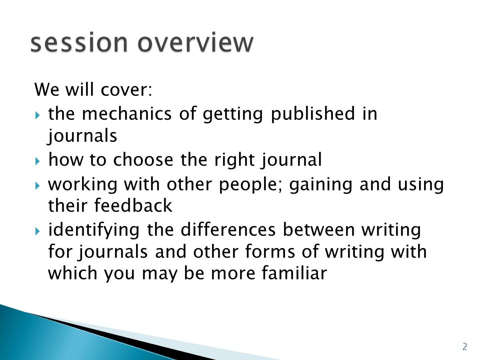 session overview We will cover:
