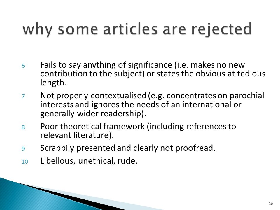 why some articles are rejected