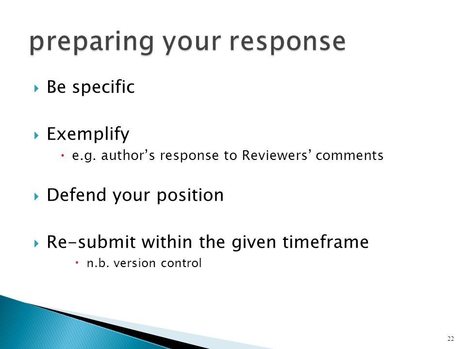 preparing your response