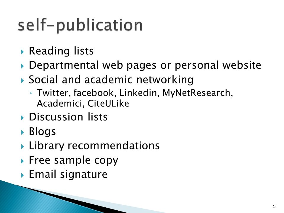 self-publication Reading lists