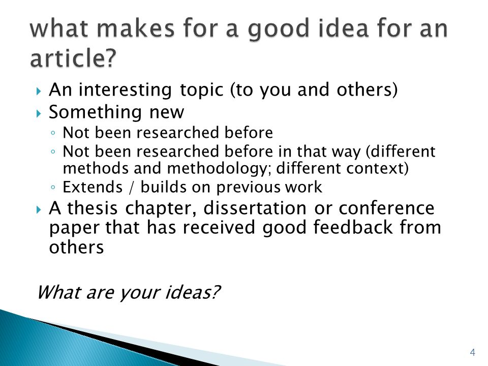 what makes for a good idea for an article
