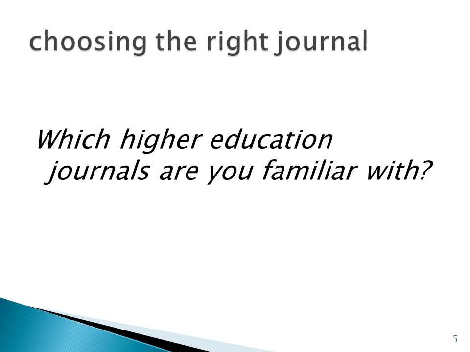 choosing the right journal