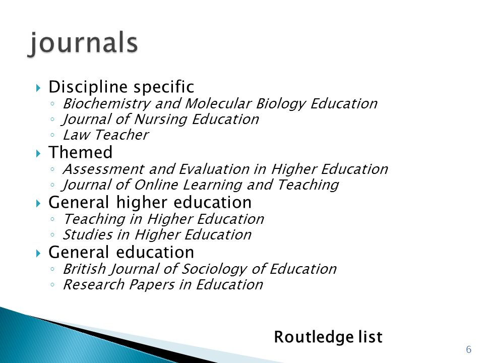 journals Discipline specific Themed General higher education