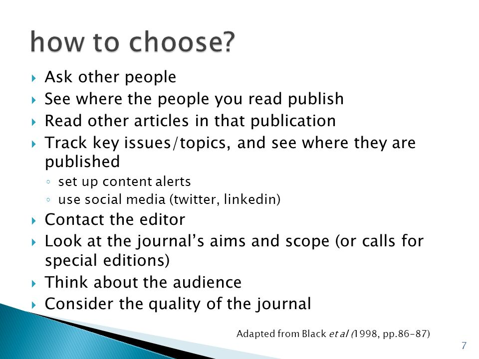 how to choose Ask other people See where the people you read publish