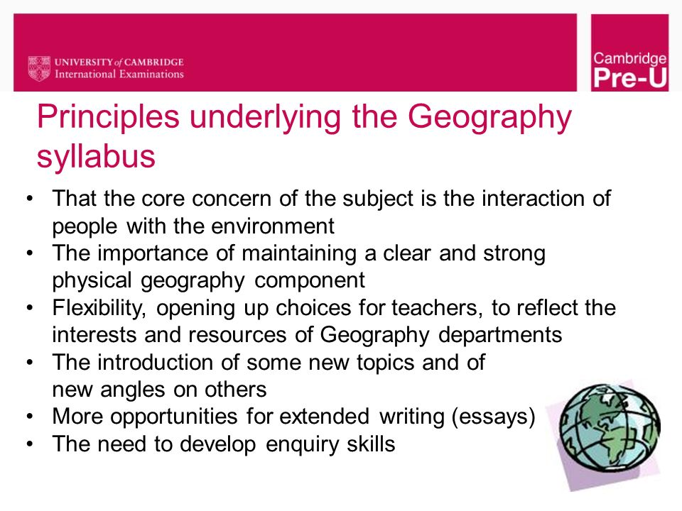 Principles underlying the Geography syllabus