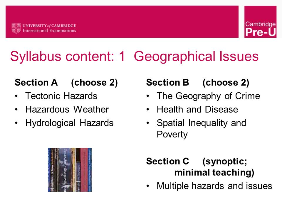 Syllabus content: 1 Geographical Issues