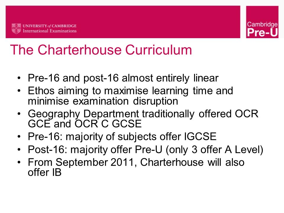 The Charterhouse Curriculum