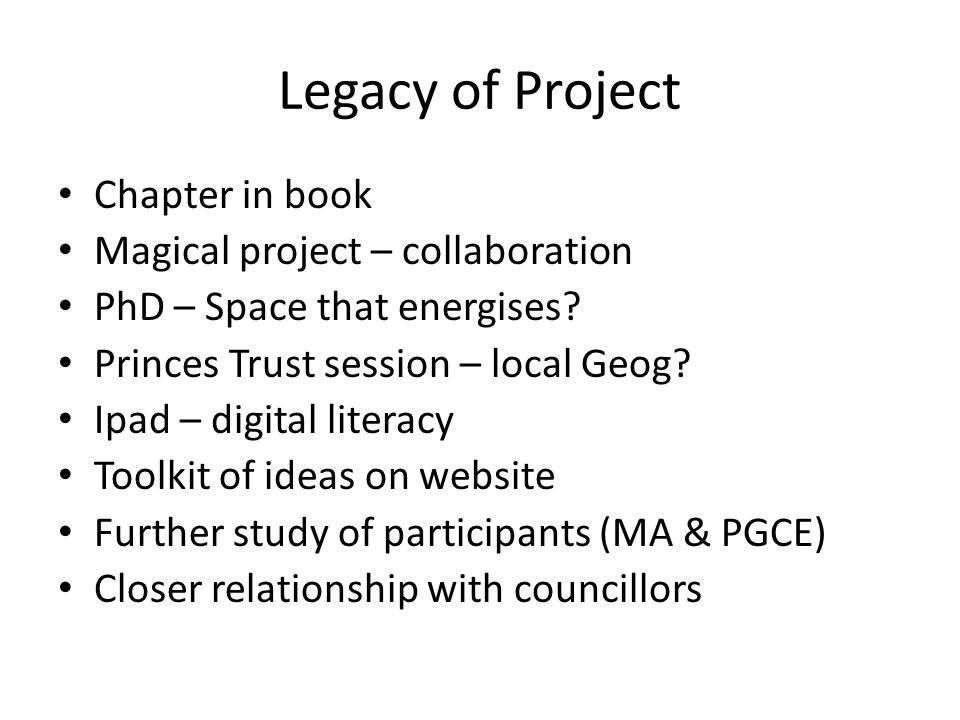 Legacy of Project Chapter in book Magical project – collaboration