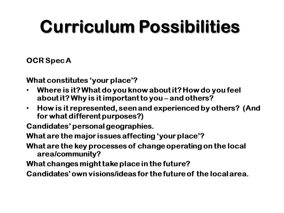 Curriculum Possibilities