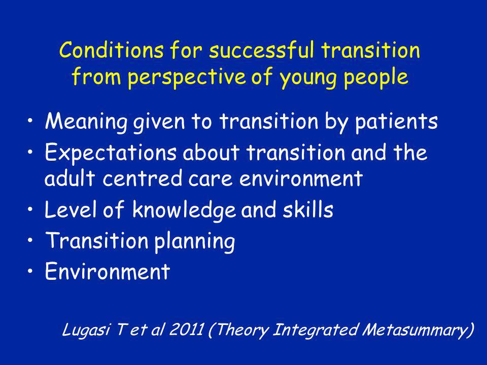 Conditions for successful transition from perspective of young people