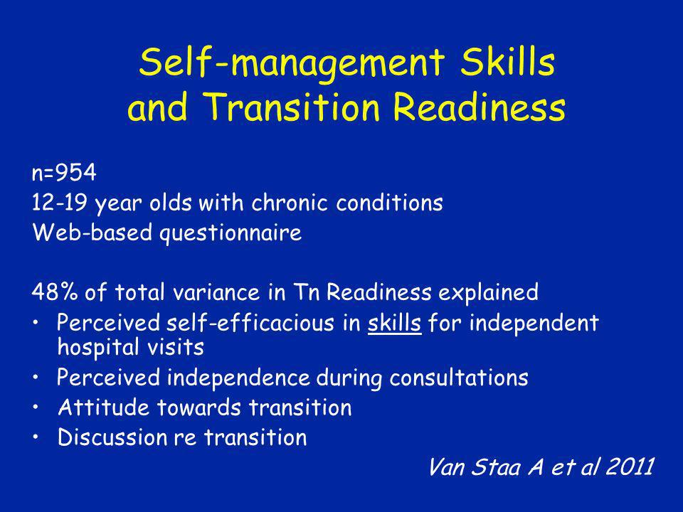 Self-management Skills and Transition Readiness