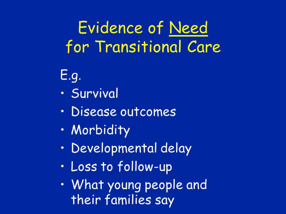 Evidence of Need for Transitional Care