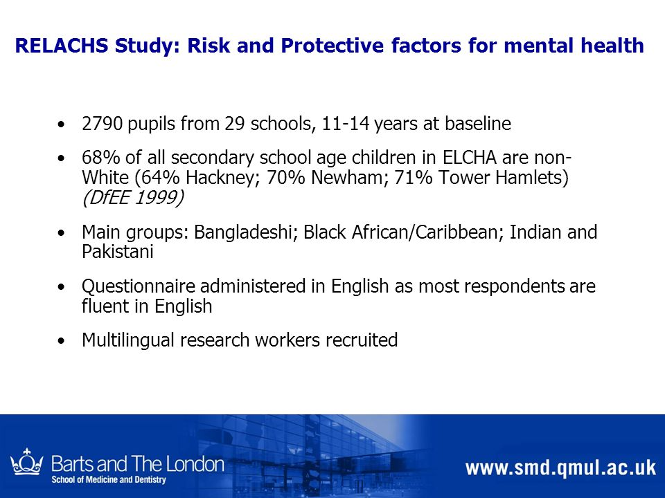 RELACHS Study: Risk and Protective factors for mental health