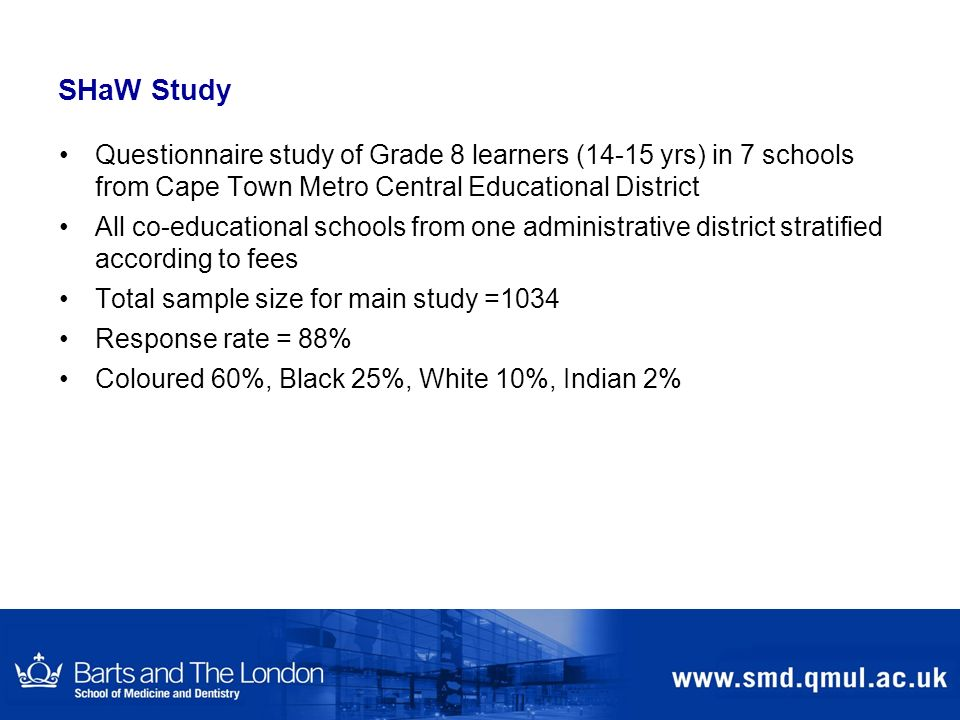 SHaW Study Questionnaire study of Grade 8 learners (14-15 yrs) in 7 schools from Cape Town Metro Central Educational District.