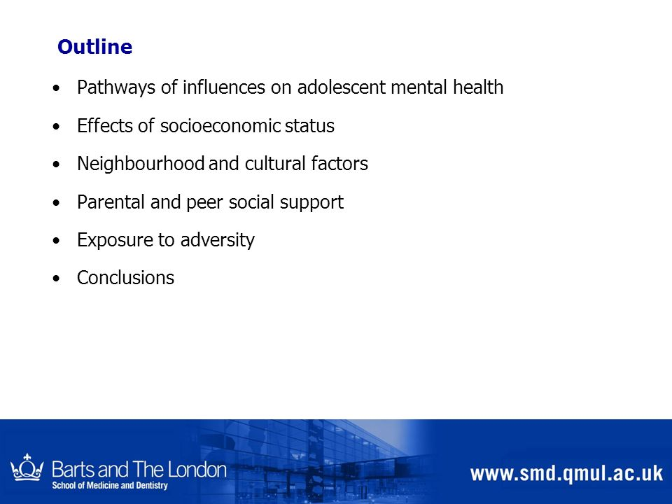 Outline Pathways of influences on adolescent mental health