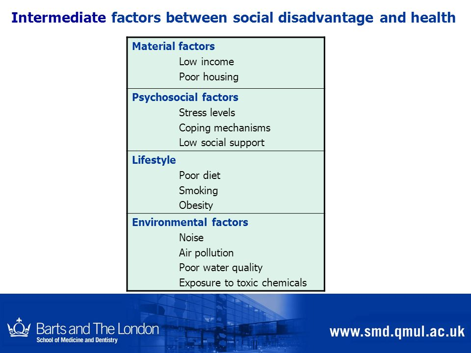Intermediate factors between social disadvantage and health