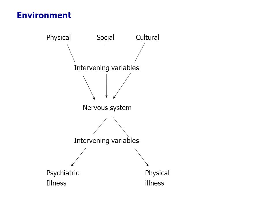 Environment Physical Social Cultural Intervening variables Nervous system Psychiatric Physical Illness illness