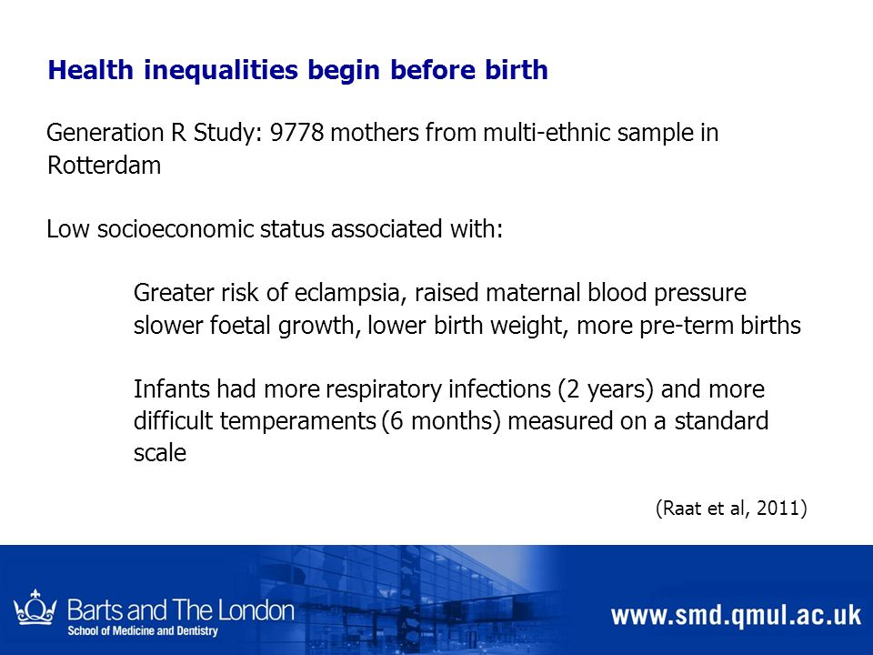Health inequalities begin before birth