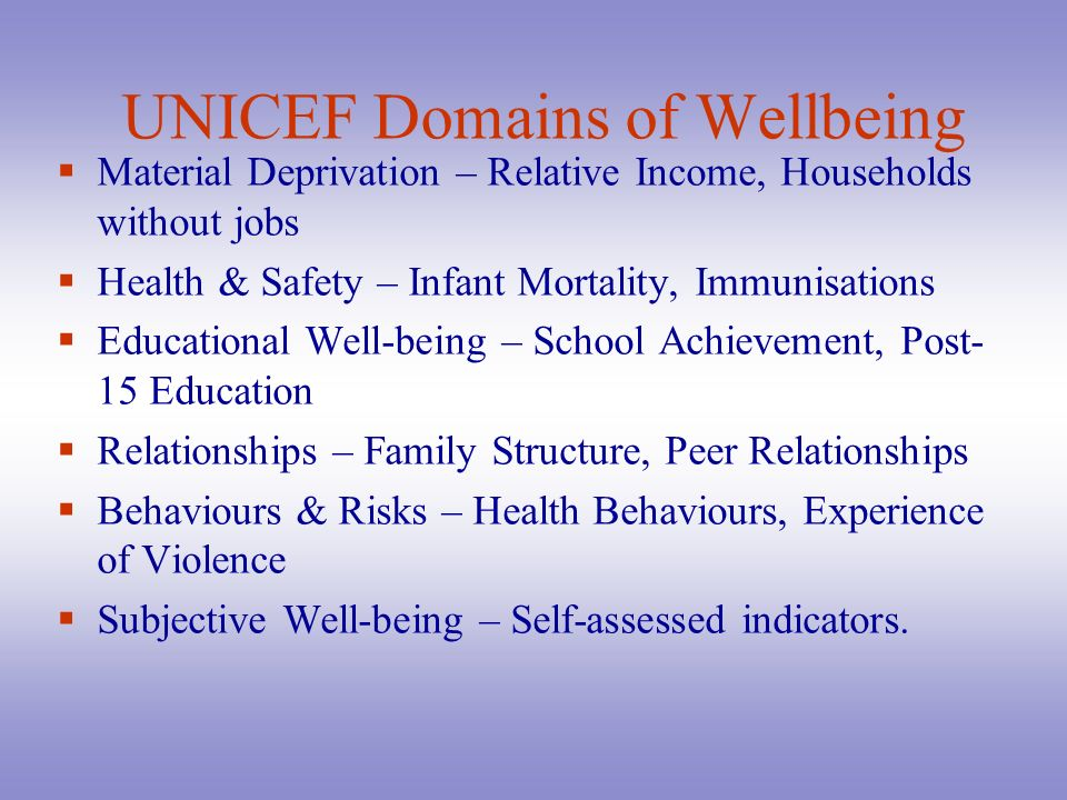 UNICEF Domains of Wellbeing